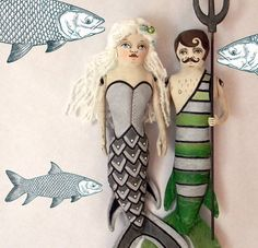 Mermaid-- Original Contemporary Folk Art Doll-- Made to order within a week