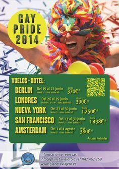 Cartel Publicitario - Gay Pride 2014, por Planeta Viajero http://www.planetaviajero.es/info/6443/gay-pride-2014.php