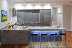Impressive Gray Home Interiors for Elegant Home: Warm Contemporary Kitchen Design Shades Gray Design Ideas