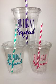 Birthday Cup, Daughter Birthday, Birthday Favors, Reusable Plastic Cups, Disposable Cups, Party Cups, Tiffany And Co, Cupping Set, Squad