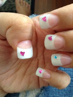 Gel nails whitetip heart