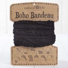Black Crochet Boho Bandeau by natural life