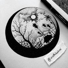 Drawings by visothkakvei in 2019 dibujos con puntillismo, dibujar arte, art Dotted Drawings, Art Drawings Sketches Simple, Pencil Art Drawings, Doodle Art Drawing, Mandala Drawing, Moon Drawing, Arte Copic, Stippling Art, Doodle Art Designs