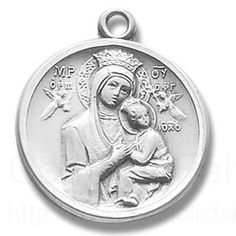 """(1""""h x 13/16""""w, Silver) This Madonna and Child Medal is made of Sterling Silver and comes with a Genuine Rhodium Plated Stainless Steel Chain. Comes in a lovely gift box. 1 medal, 18 chain"""