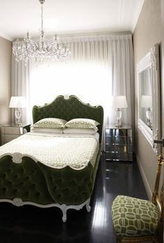 love everything! - wall-to-wall sheer drapery, mirrored night stands, beautiful tufted headboard, white mirror on wall, ebony floors, gorgeous chandelier