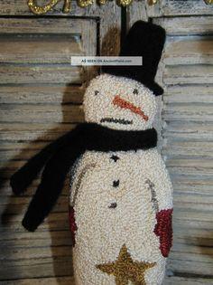 primitive christmas tree punch needle | Primitive Punch Needle Christmas Winter Snowman Vintage Style Makedo ...