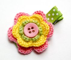 Baby Hair Clip  Crochet Hair Clip  Baby Girl Hair by HappyHairDay, $4.50