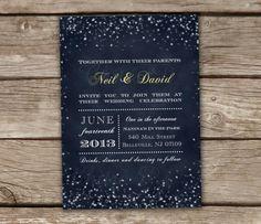 Midnight Blue Wedding Invitation & RSVP Postcards DIY by chitrap