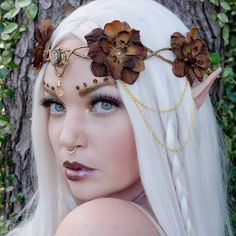 Brown and gold elven crown  headdress by Frecklesfairychest