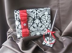Ivory and Black Damask Wedding Guest Book by RomancingJuliet, $54.50