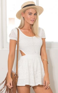 ccd0209d5c New Dawn Playsuit In White Crochet Produced