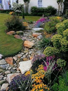 Dry creek bed look | Gardening