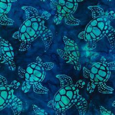 Regatta Turtles Totally Tropical Artisan Batiks by NauvooQuiltCo, $5.35