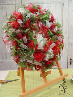 Wreath kit with Deco Flex Ribbon, and TInsel Tubing to make a basic Christmas Wreath, tutorial by Trendy Tree.
