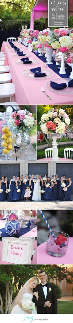Logan and Taylor tied the knot in Abilene, Texas, with a beautiful backyard reception following their ceremony at First Baptist Church of Abilene. With the help of  Emily Clarke Wedding and Events, no detail was overlooked. Posh Couture Rentals set the scene for the poolside soiree. We love all of the maids dressed in navy numbers from Stardust Celebrations and the bride looks stunning in her Vera Wang gown. Photography by J.May Photography #wedding #backyard #pink #navy