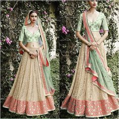 Captivating embellishments of zari and thread in subtle hues of pink and green. Skirt in self embroidered beige lehenga along with pallu in sea green. Net blouse in sea green Bhagalpuri fabric with sequin buttas all over  Available with us  Watsapp - 91 9930777376 Email -  fashioncloset06@gmail.com Or DM for enquiries.  #desi #kundanjewellery #indianweddingsmag #desibeautyblog #gujaratiwedding #weddingfashion #bridaljewellery #asianweddings #imitationjewellery #polki #indianbridalwear…