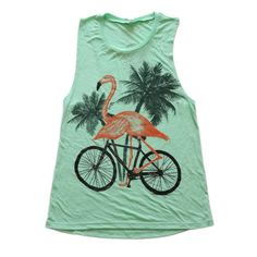 flamingo on a bike ladies muscle tank top NEW by darkcycleclothing