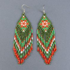 Green and orange long beaded earrings by Anabel27shop on Etsy,
