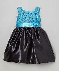 Take a look at this Turquoise & Black Shimmer Swirl Dress - Toddler & Girls by Shanil on #zulily today!