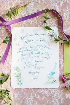 White and turquoise wedding invites. Stationery: Laura Lavender Calligraphy & Illustration ---> http://www.weddingchicks.com/2014/06/02/romantic-wedding-ideas/
