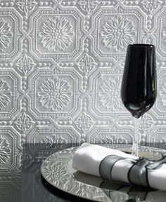Paintable wallpaper for the ceiling tiles... could paint it using Krylon's metallic silver to look like tin ceiling tiles...