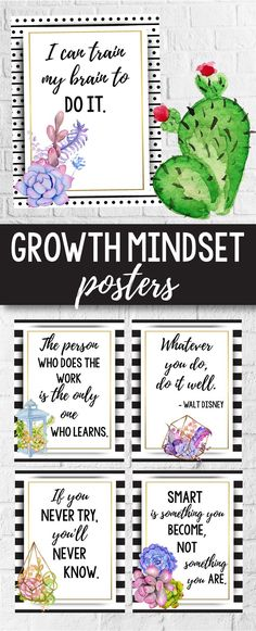These growth mindset posters for kids and teachers will look great in your rustic or farmhouse themed classroom decor. They will help you add a little something to your lessons for preschool, kindergarten, first grade (1st grade), elementary and middle school.A great alternative to the old banner or pennant, this display of affirmations and quotes for students will help them set goals and learn the difference between fixed vs growth mindset.These succilent decorations can be hanged by the…