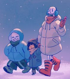 Undertale - Frisk and Sans and Papyrus
