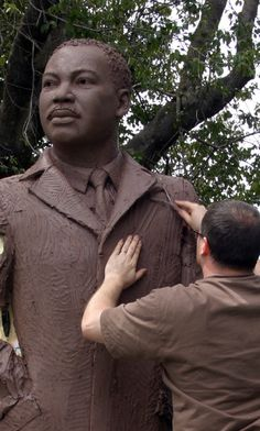 Martin Luther King Jr. Steven Whyte working on a 9ft clay statue of MLK at the Carmel Art Festival. Bronze Figurative sculpture by sculptor Steven Whyte, Carmel, California. Www.facebook.com/stevenwhytecarmel