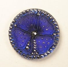 Old Exquisite LG Vintage Lacy Blue Glass Clover w 99 Original Backpaint Button | eBay