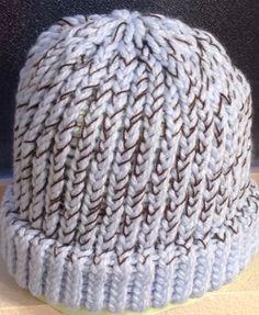 Light Blue/Brown Loom Knit Hat, Adult Size. $15