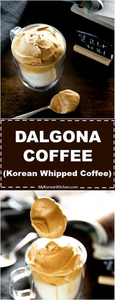 """Try delicious and trendy Korean coffee - """"Dalgona coffee"""". This whipped coffee has smooth velvety texture and medium tanned color. Super easy to make! Indian Food Recipes, Asian Recipes, Asian Foods, Korean Coffee, Food Tasting, Coffee Recipes, Drink Recipes, Korean Food, Yummy Drinks"""