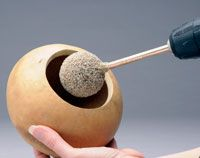 Cleaning the inside of your gourds is easier than ever with the GourdMaster Easy Cleaner Ball! Simply attach the Cleaner Ball to your electric power drill, and the spinning action does all the work for you! Crafts To Make, Fun Crafts, Arts And Crafts, Paper Crafts, Gourd Crafts, Coconut Shell Crafts, Decorative Gourds, Hand Painted Gourds, Gourds Birdhouse