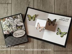 Fancy Handmade Cards Pop Up Butterfly CardIn this tutorial, you will learn how to make a simple pop butterfly card. You will also learn how to step it up and create a pop up card within a card!botanical butterfly dsp stampin upPop Up Schmetterlingska Fun Fold Cards, Folded Cards, Interactive Cards, Card Making Tutorials, Stamping Up Cards, Greeting Cards Handmade, Butterfly Cards Handmade, Pop Up Greeting Cards, Creative Cards