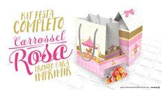 Faça a festa dos seus sonhos, baixe agora grátis o kit festa Carrossel Encantado Rosa com + de 140 moldes, com caixinhas, convites e vários rótulos!