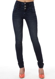 Great for wearing inside boots  STRETCH high waist skinny jean with light  sanding, triple fa1c6ded4ada