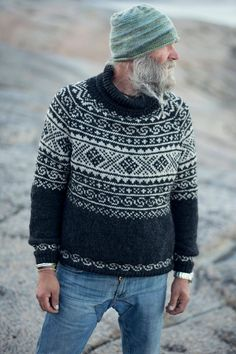 Fair Isle Knitting Patterns, Sweater Knitting Patterns, Knitting Sweaters, Sock Knitting, Vintage Knitting, Free Knitting, Mens Knit Sweater Pattern, Men Sweater, Icelandic Sweaters