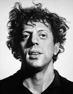 Philip Glass portrait by Chuck Close