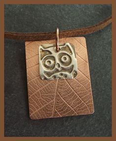 Copper and Sterling Silver Owl Dog Tag Necklace - Pendant - Unisex - Fathers Day £20.00