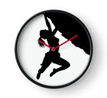 girl bouldering silhouette Clock