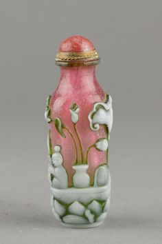 Chinese Peking Glass Carved Snuff Bottle Qianlong.