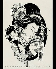 Full pic of the t-shirt design I did for a little while… Japanese Demon Mask, Japanese Geisha Tattoo, Japanese Drawings, Japanese Prints, Yakuza Tattoo, Asian Tattoos, Art Tattoos, Geisha Art, Traditional Japanese Tattoos
