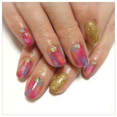 20120527 my nail 真夏のタイダイ