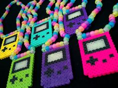 Kandi Necklace with Game Boy Color Perler Bead Charm