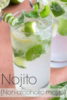 Treat yourself to a nojito- a non-alcoholic mojito. Treat yourself to a nojito- a non-alcoholic mojito! Use agave to make this sugar-free as well. Nojitos are a great alternative to lemonade and perfect for pregnant or nursing moms too. Refreshing Drinks, Fun Drinks, Yummy Drinks, Healthy Drinks, Healthy Snacks, Healthy Eats, Nutrition Drinks, Healthy Recipes, Mixed Drinks