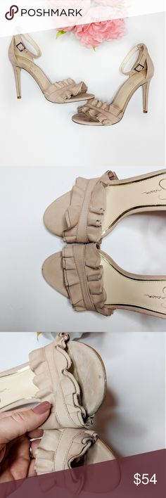 JESSICA SIMPSON • Silea blush nude suede heels Jessica Simpson nude / blush pink ruffle trim Silea stiletto heel, Ankle buckle strap. Heel height 4.25 in. Excellent condition, almost new. Only worn a couple times. Jessica Simpson Shoes Heels