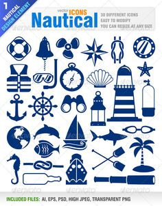 Illustration of nautical icons vector art, clipart and stock vectors. Nautical Design, Nautical Theme, Nautical Banner, Nautical Clipart, Stencils, Silhouette Projects, Silhouette Cameo, Painted Rocks, Vector Art
