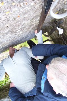 kissing the blarney stone.....that's how it's done. loved Ireland.