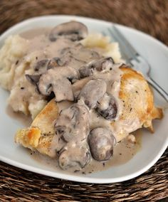 Smothered Chicken with Mushroom Gravy  (I'll take out the mushrooms)  Mel's Kitchen Cafe