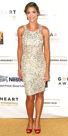DENISE RICHARDS  Denise adds a pop of color to her silver sequined knee-length dress via red pumps and polished nails at the 12th Annual Golden Heart Awards Gala in Beverly Hills.