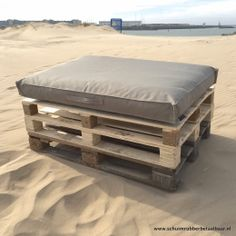 Pallet kussen 80x120x10 cm outdoor all weather stof taupe